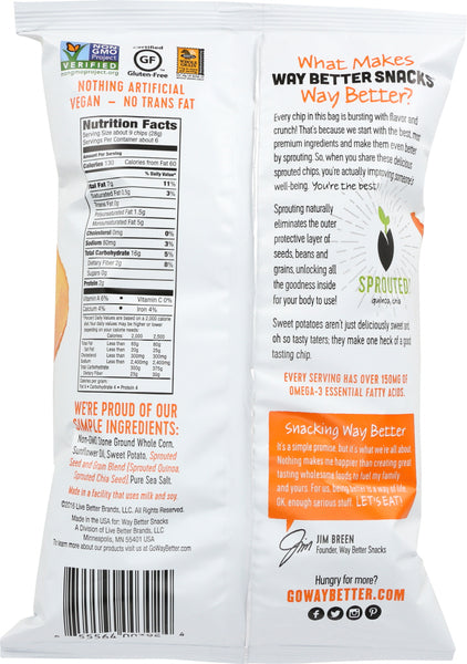 WAY BETTER SNACKS: Simply Sweeet Potato Corn Tortilla Chips, 5.5 oz