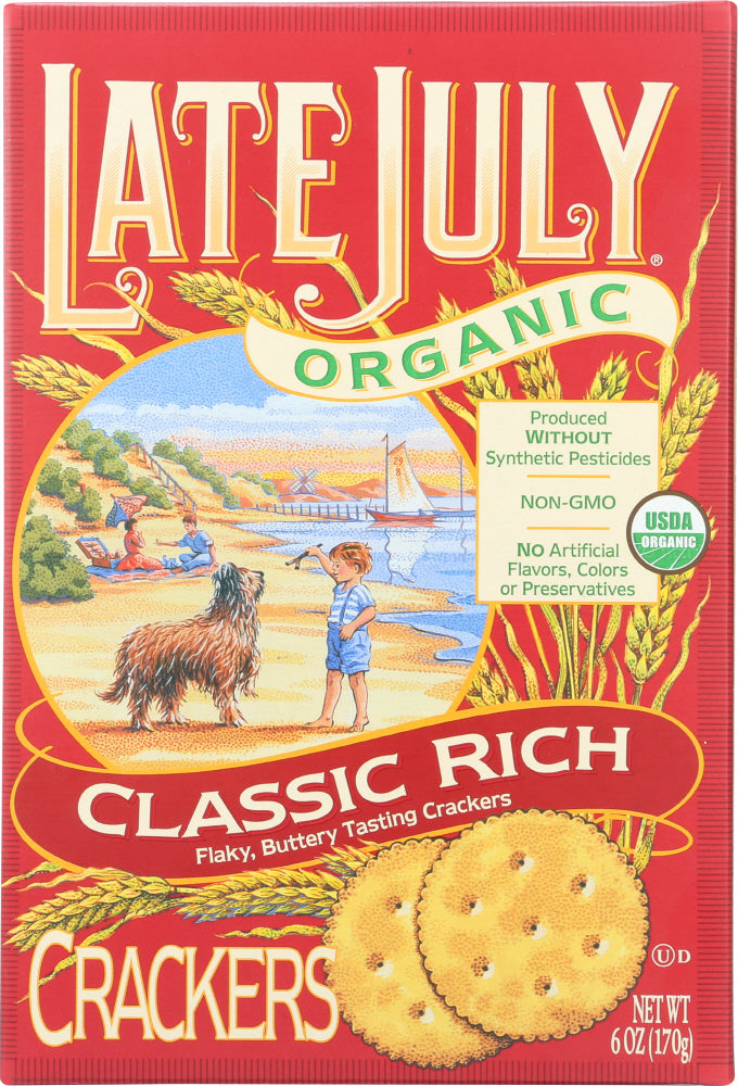 LATE JULY: Organic Crackers Classic Rich, 6 oz