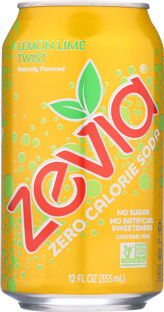ZEVIA: All Natural Zero Calorie Soda Lemon Lime Twist 6 cans (12 oz each), 72 oz