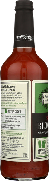 POWELL & MAHONEY: Sriracha Bloody Mary Super Spicy Cocktail Mixer Non-Alcoholic, 750 ml