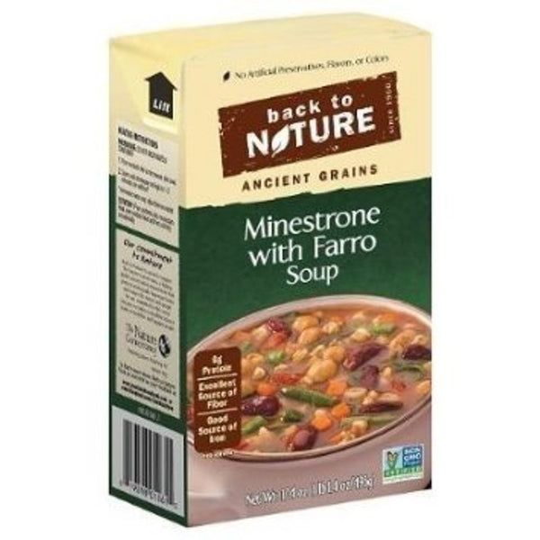 BACK TO NATURE: Reduced Sodium Soup Minestrone with Farro, 17.4 Oz