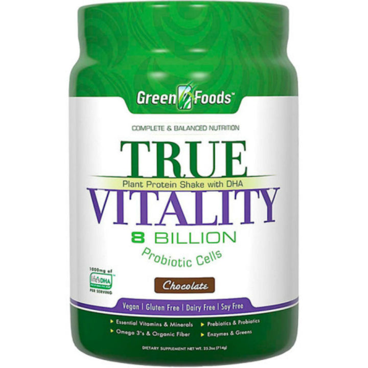 GREEN FOODS: True Vitality Plant Protein Shake with DHA Chocolate, 25.2 oz