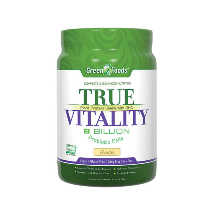 GREEN FOODS: True Vitality Plant Protein Shake with DHA Vanilla, 25.2 oz