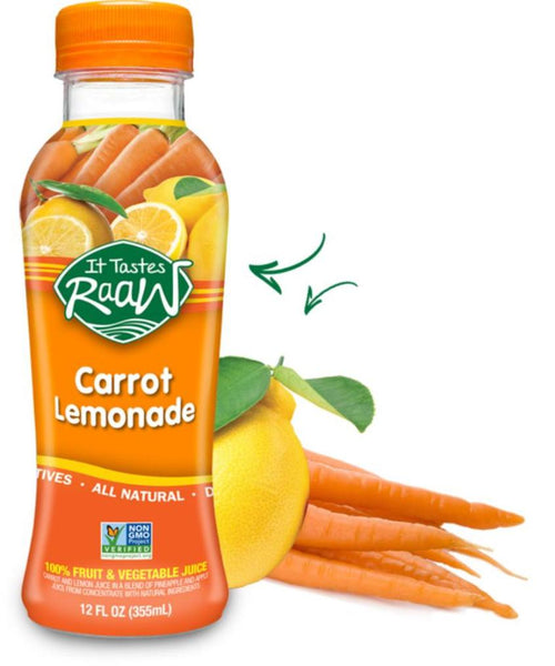 IT TASTES RAAW: Carrot Lemonade Fruit & Vegetable Juice, 12 Oz