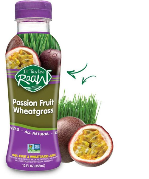 IT TASTES RAAW: Passion Fruit Wheatgrass Juice, 12 Oz