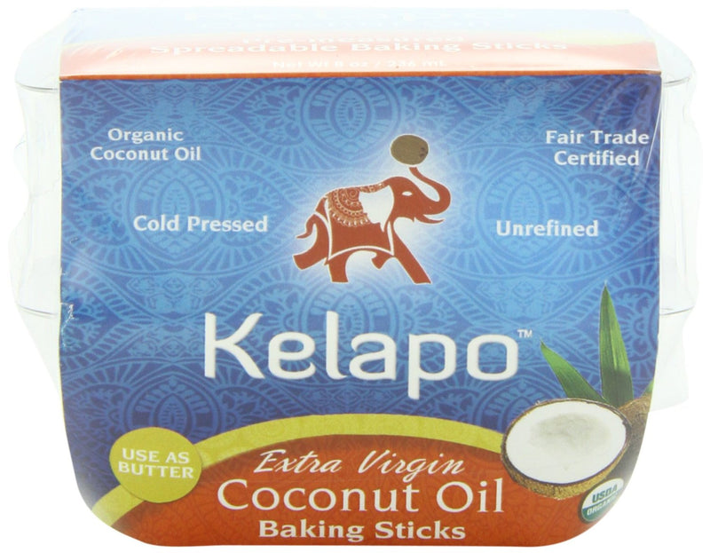 KELAPO: Extra Virgin Coconut Oil Baking Sticks, 8 oz