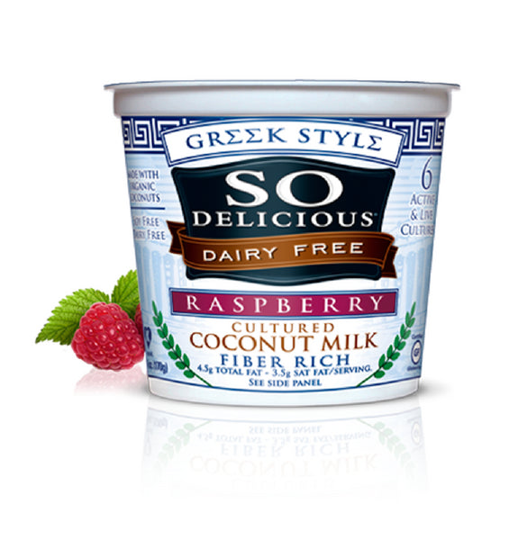SO DELICIOUS: Greek Style Cultured Coconut Milk Raspberry, 6 oz