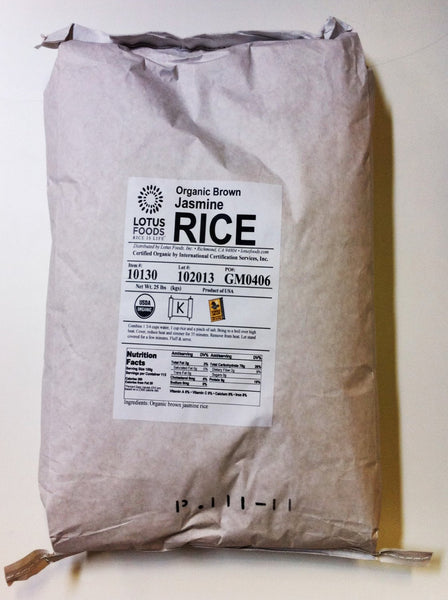 LOTUS FOODS: Organic Brown Jasmine Rice, 25 Lb