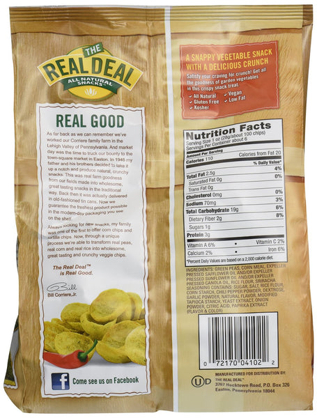 REAL DEAL: All Natural Real Veggie Chips Sriracha, 6 oz
