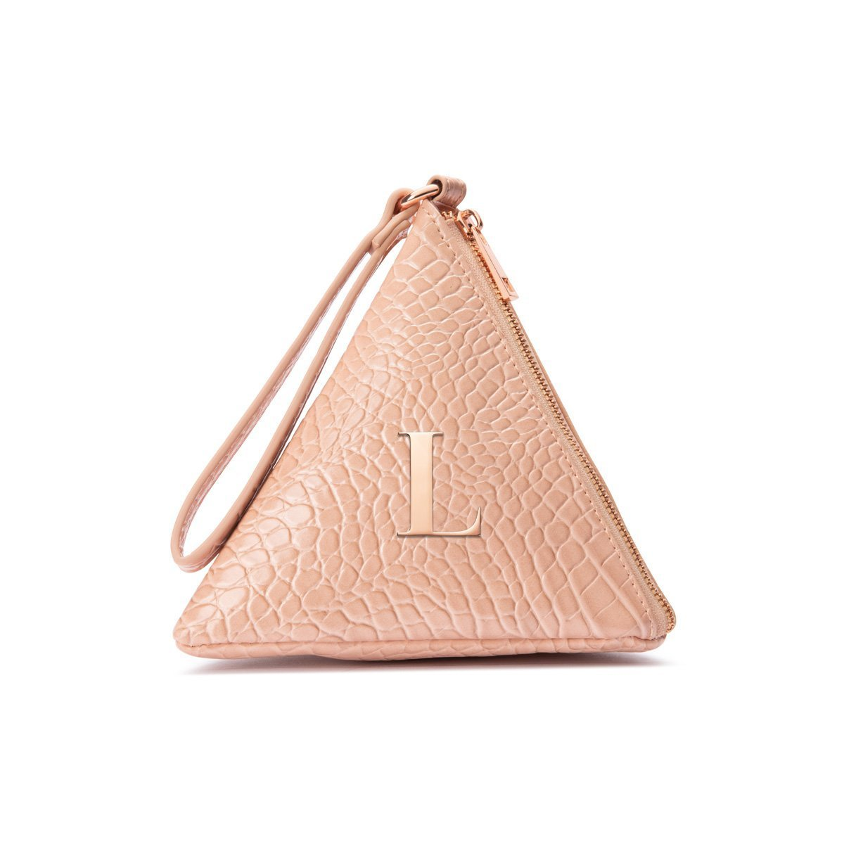 Lilly Pyramid Clutch Bag (Nude Peach/Rose Gold)