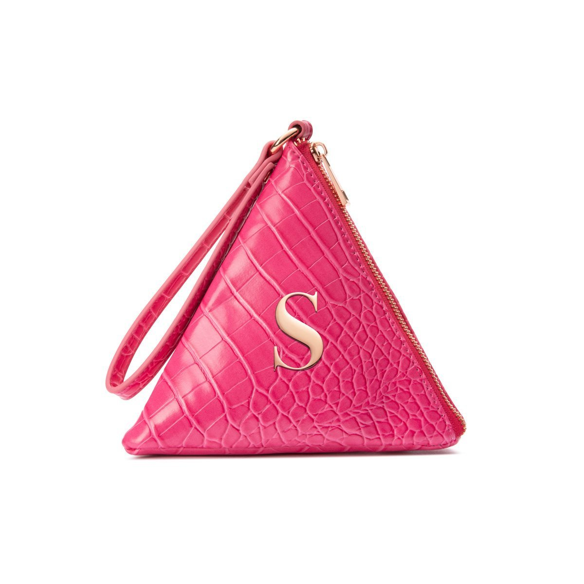 Lilly Pyramid Clutch Bag (Fuchsia Pink/Rose Gold)