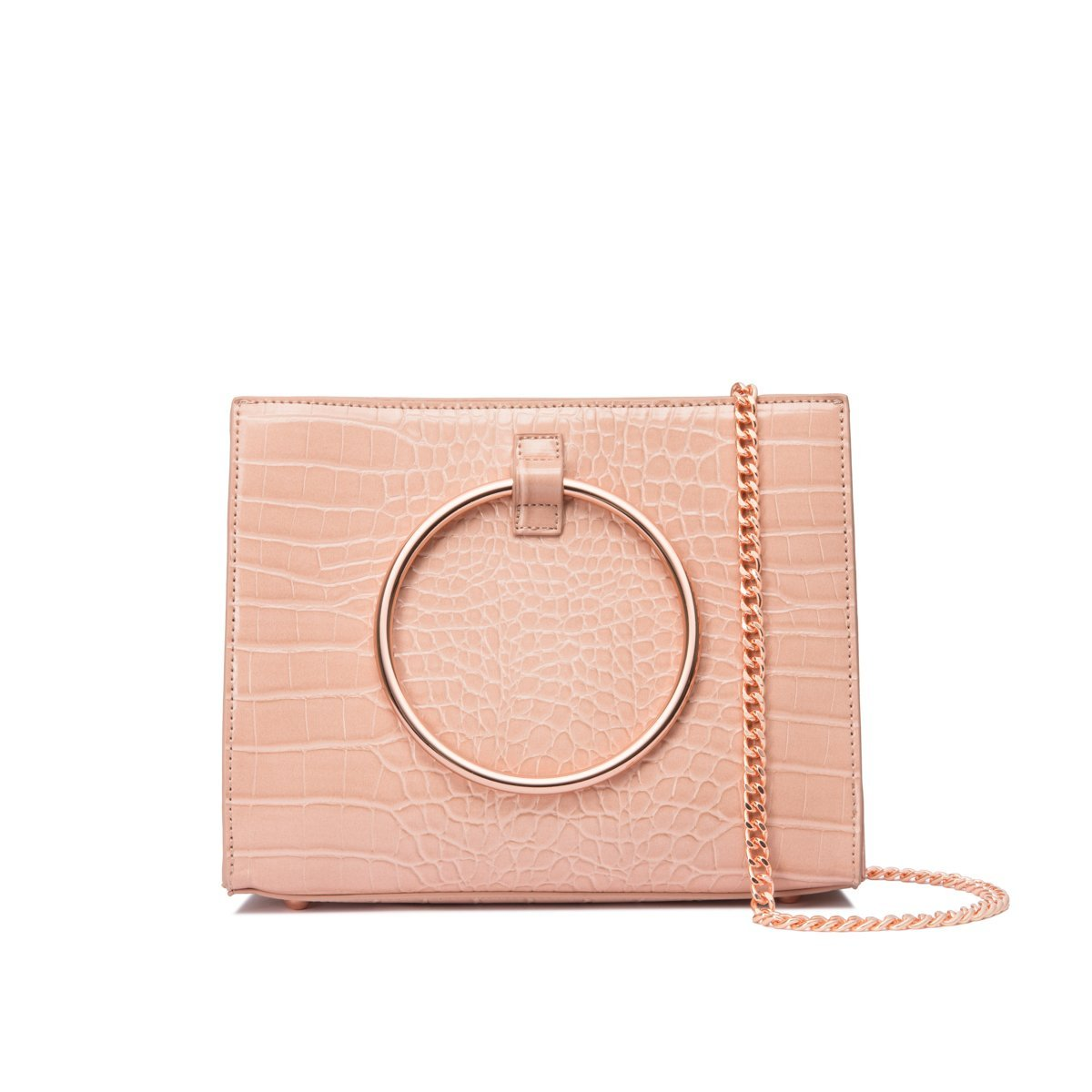Moda Croc Top Handle Bag (Nude Peach/Rose Gold)