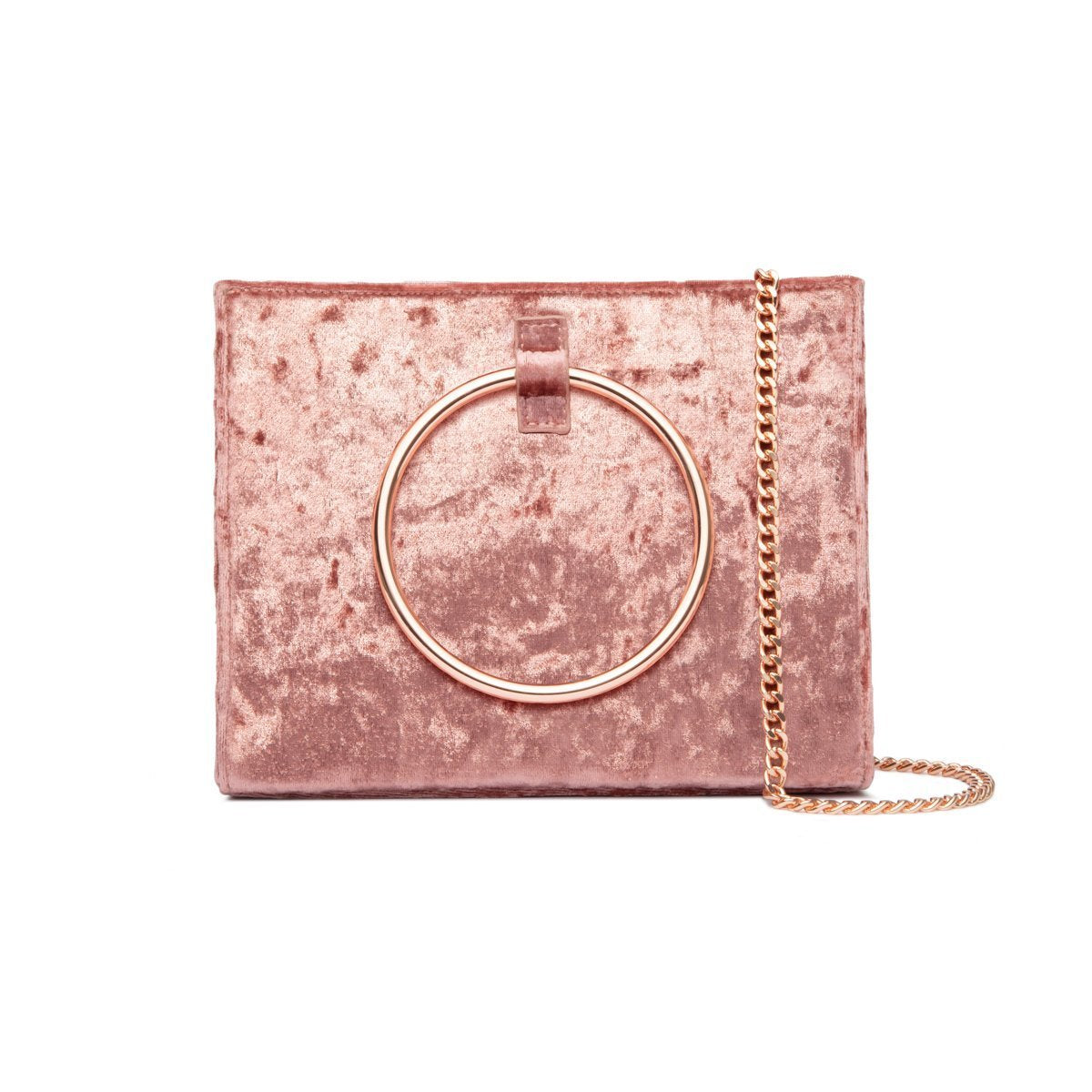 Moda Velvet Top Handle bag (Millennial Pink/Rose Gold)