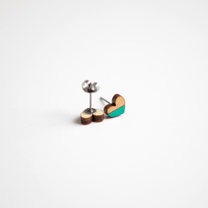 Teal Heart Wooden Earring Studs