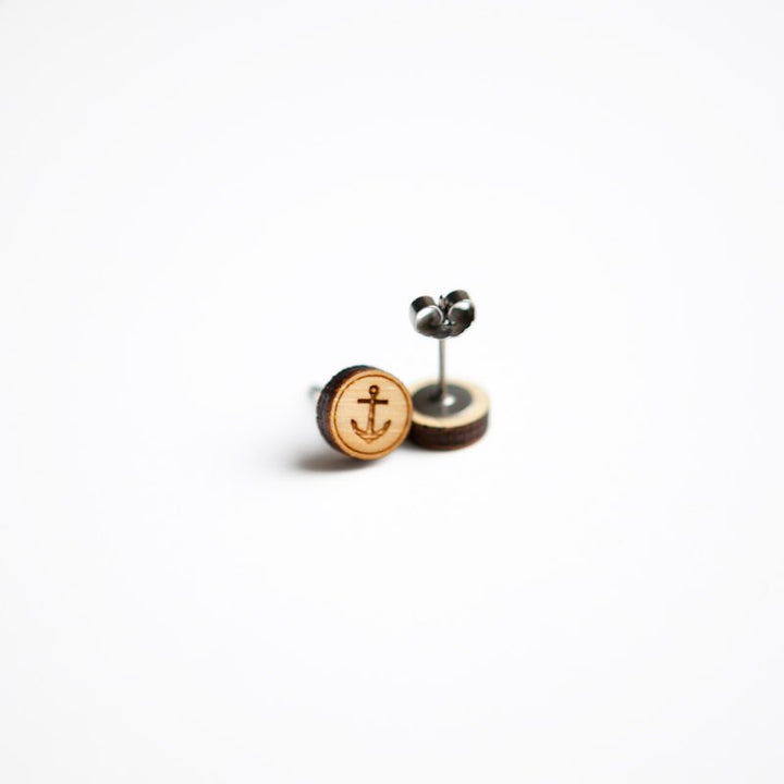 Anchor Wooden Earring Studs