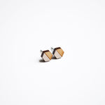 Cream Hexagon Wooden Earring Studs