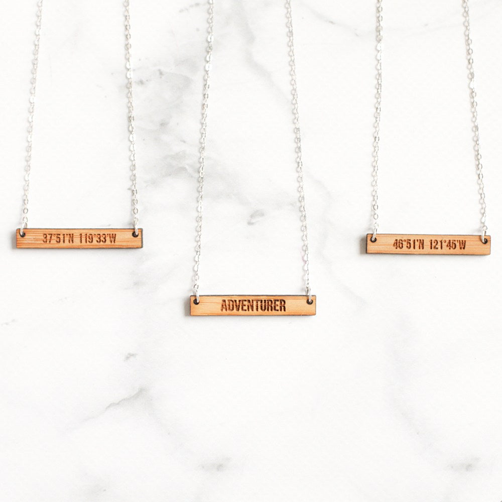 Custom Engraved Wooden Bar Necklace