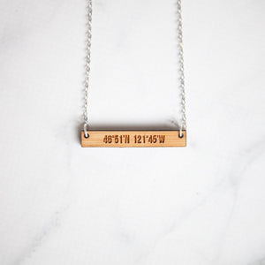 Mt. Rainier Coordinates Wooden Bar Necklace