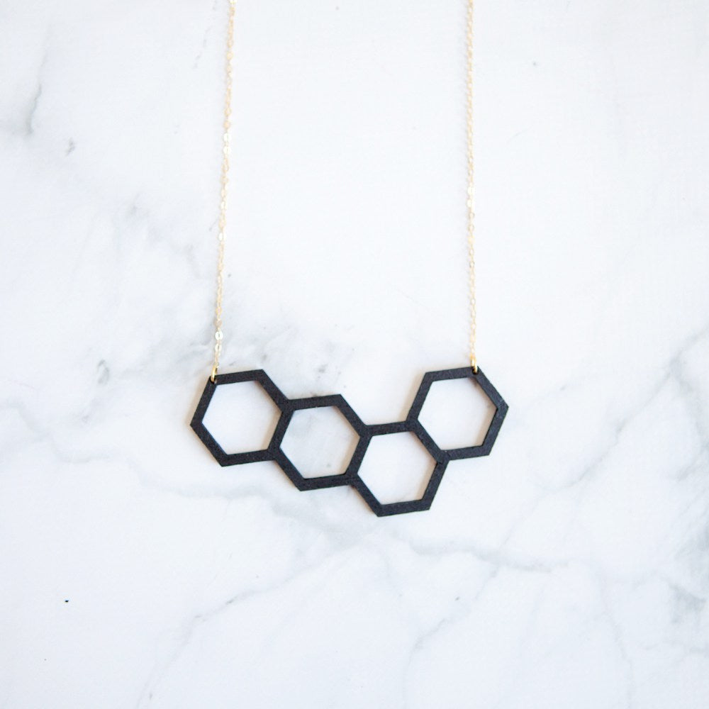 Black Wooden Honeycomb Statement Necklace