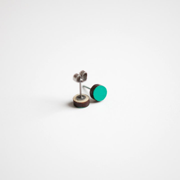 Teal Green Round Wooden Earrings