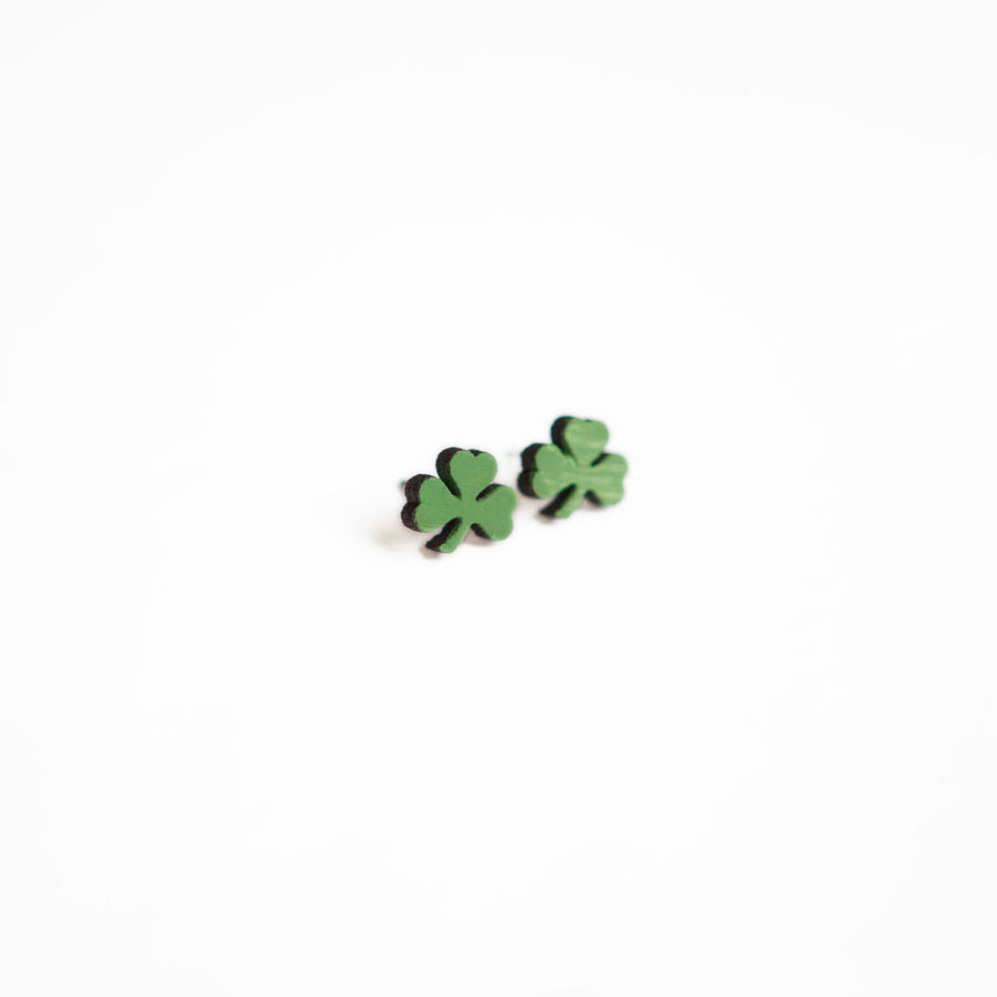 Green Wooden Shamrock Earring Studs
