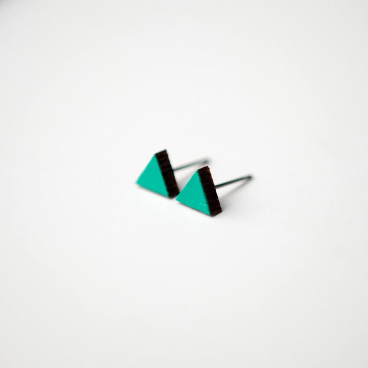 Teal Green Triangle Wooden Earring Studs
