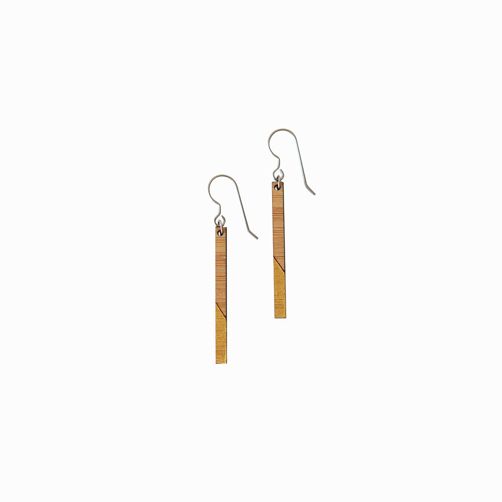 Gold Dipped Painted Wood Dangle Earrings