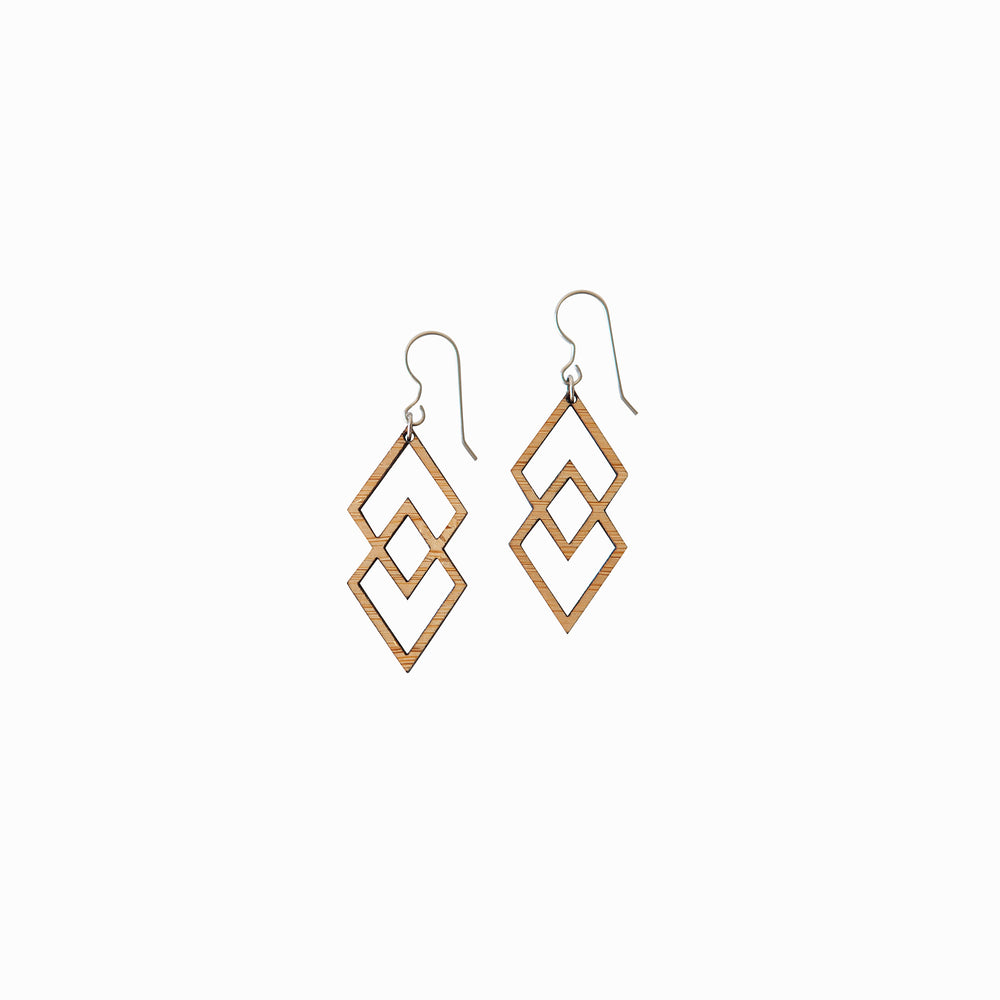 Geometric Wood Dangle Earrings