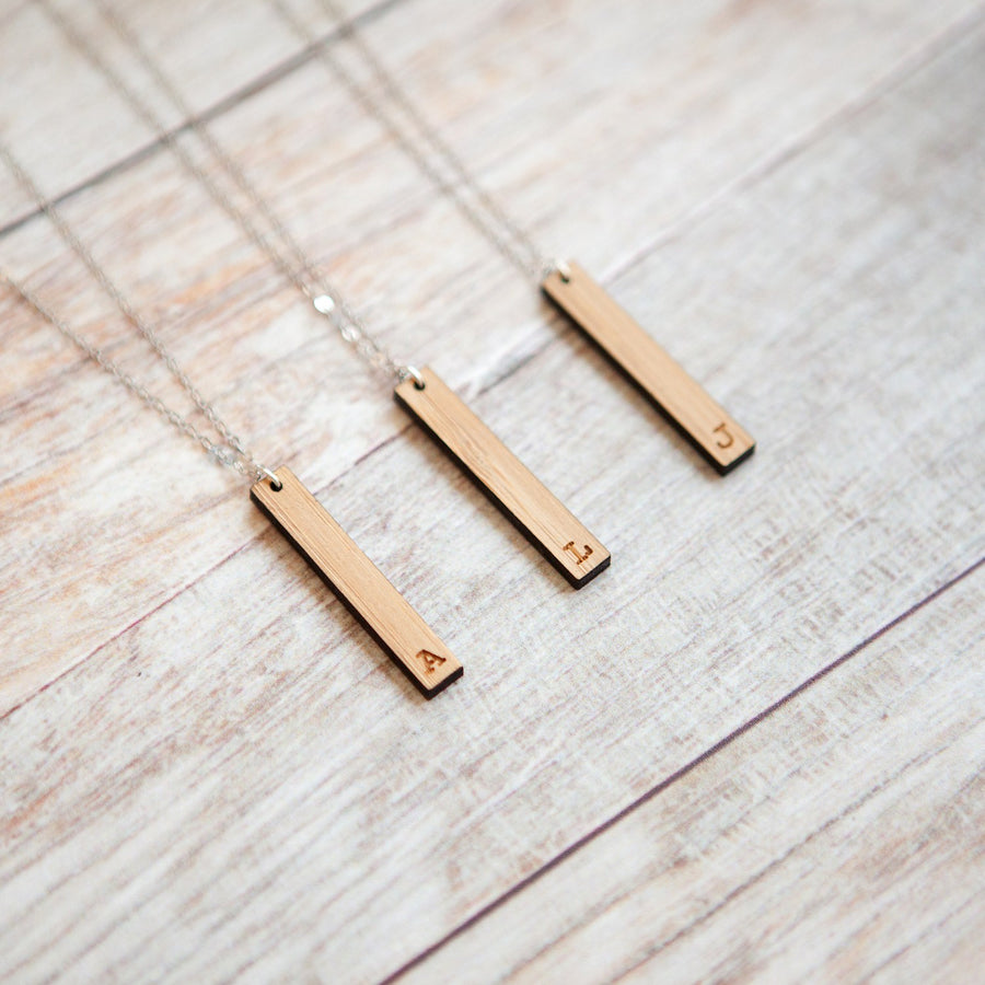 Custom Initial Engraved Vertical Wooden Bar Necklace