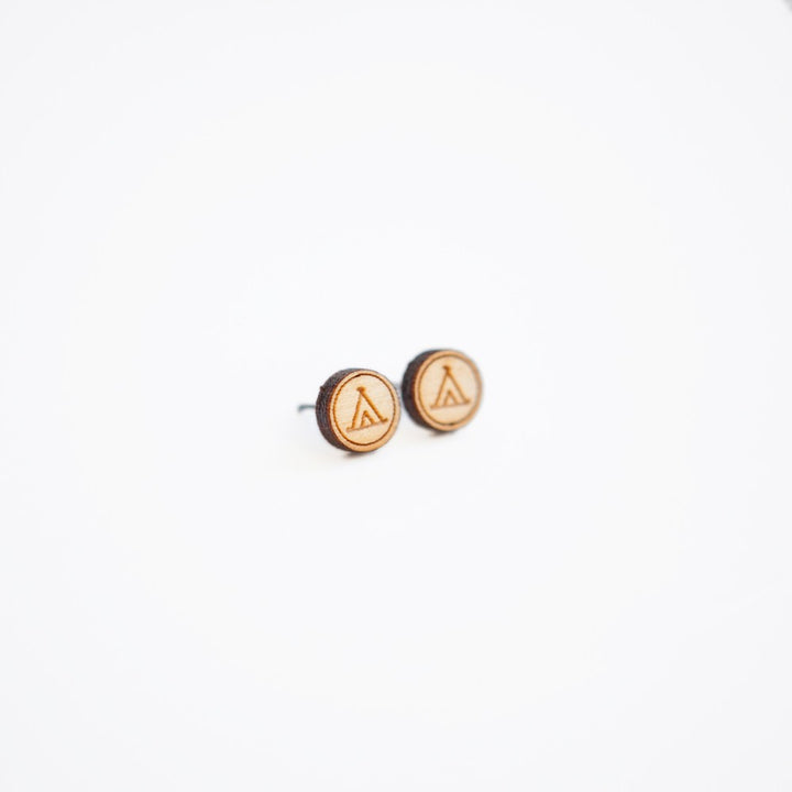 Camping Wooden Earring Studs