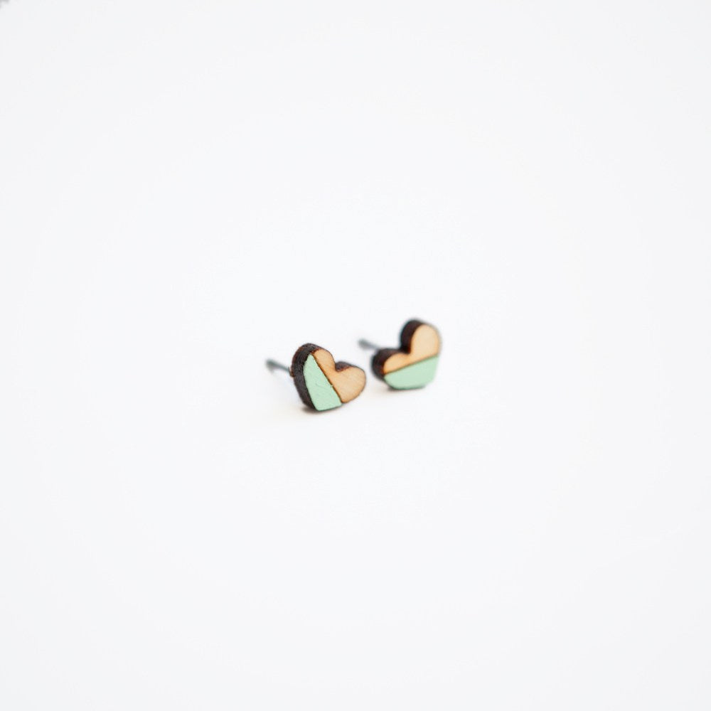 Mint Heart Wooden Earring Studs