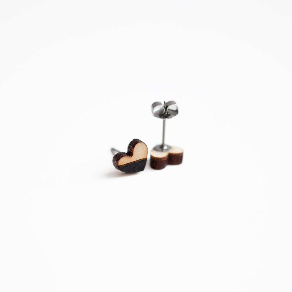 Black Heart Wooden Earring Studs