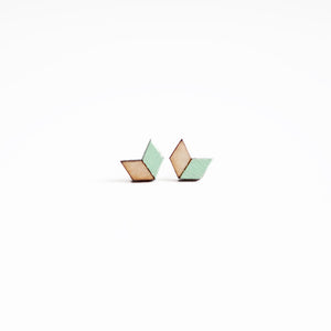 Mint Chevron Earring Studs
