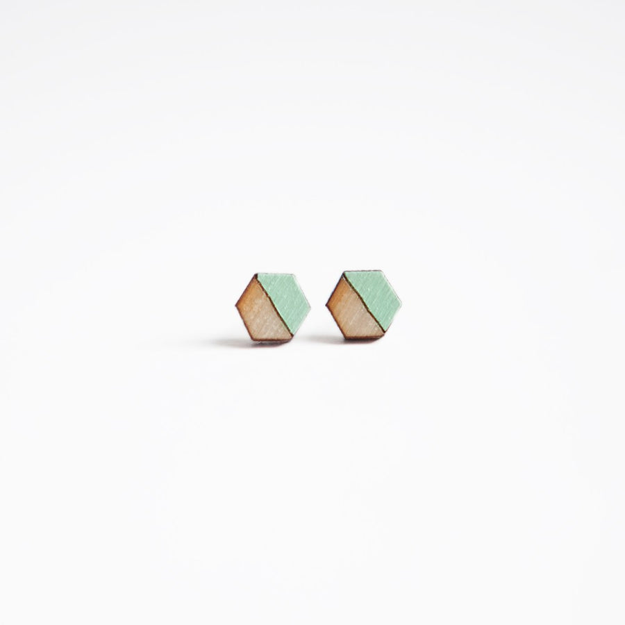 Mint Hexagon Wooden Earring Studs