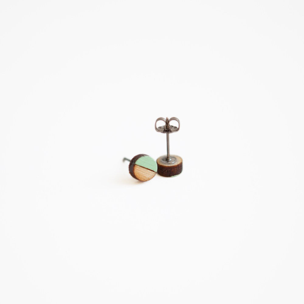 Mint Round Wooden Earrings