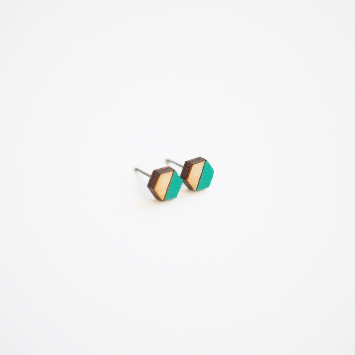 Teal Green Hexagon Wooden Earring Studs