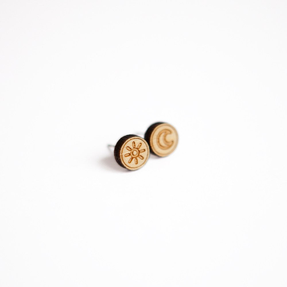 Sun and Moon Wooden Earring Studs