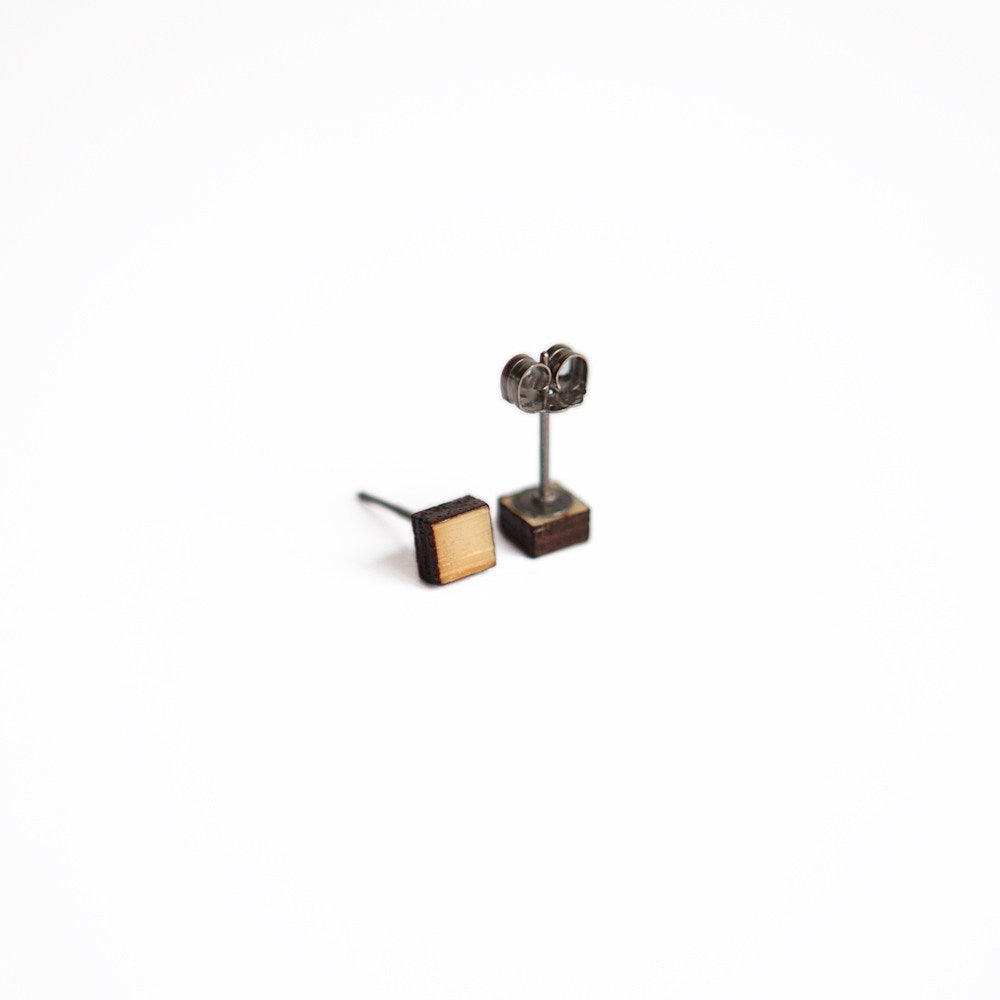 Wooden Square Earring Studs