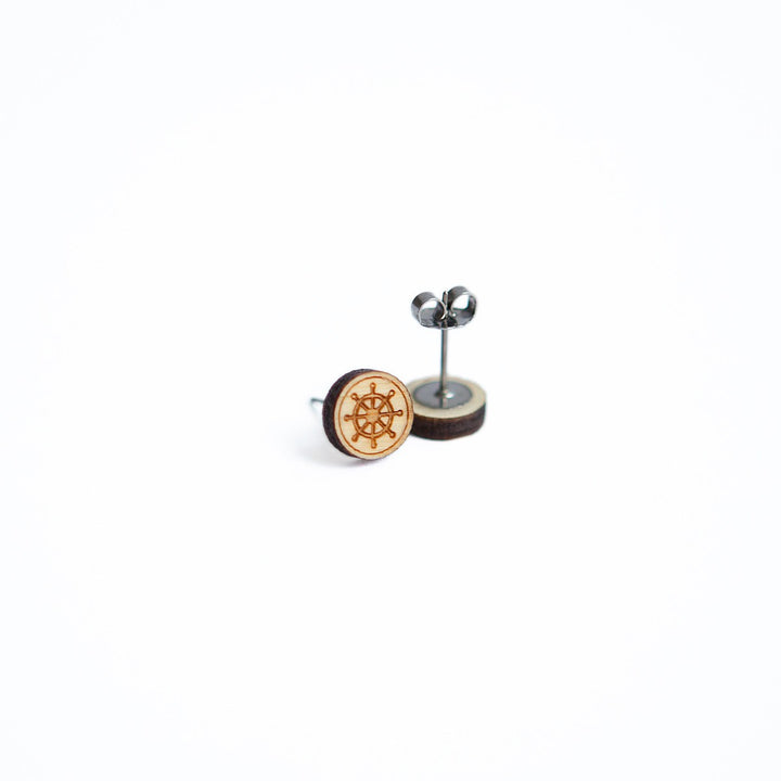 Ship Wheel Nautical Wooden Earring Studs