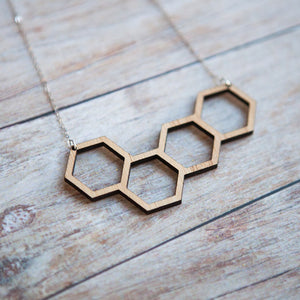 Wooden Honeycomb Statement Necklace