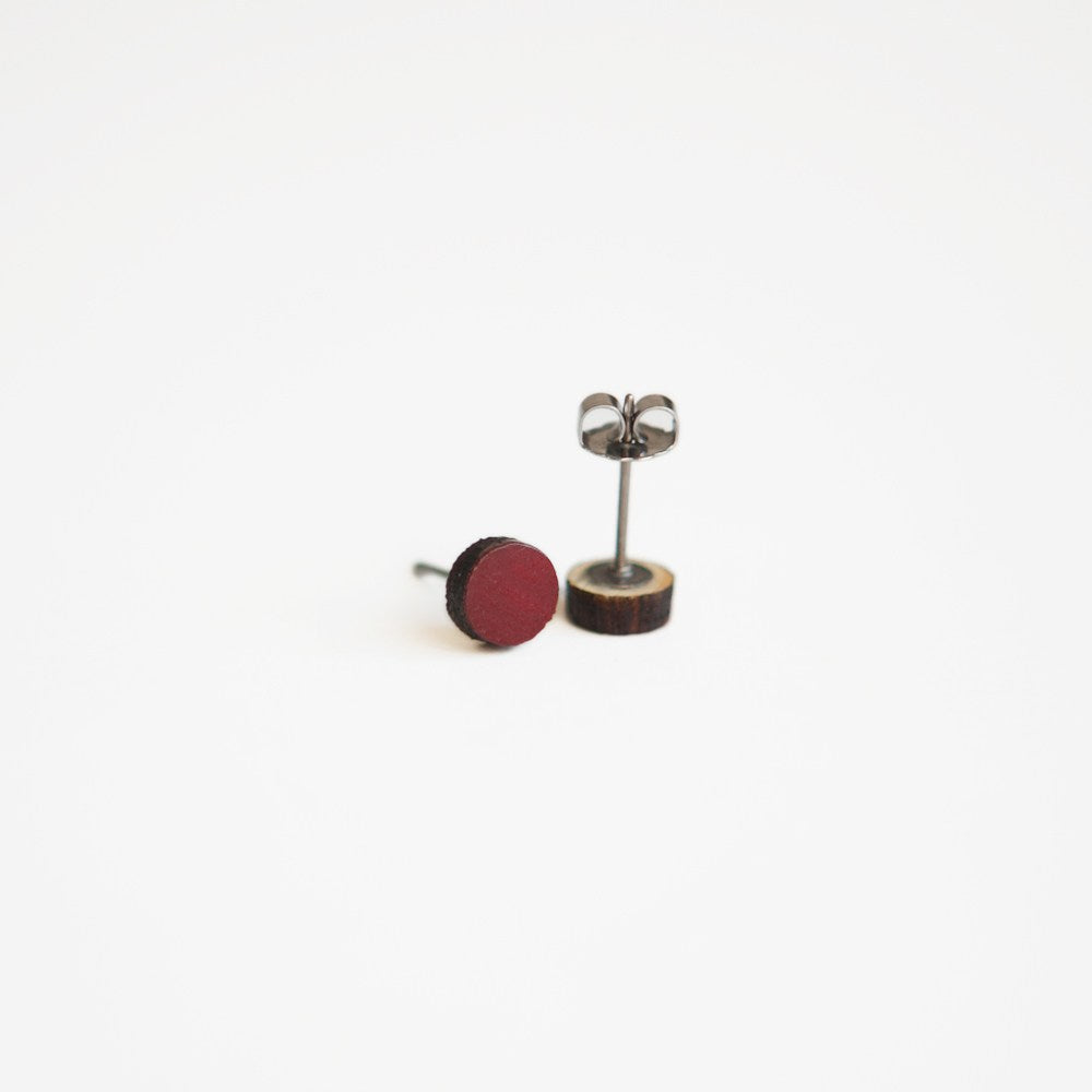 Dark Red / Burgundy Round Wooden Earrings