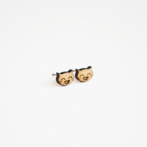Really Happy Cat Wooden Earrings
