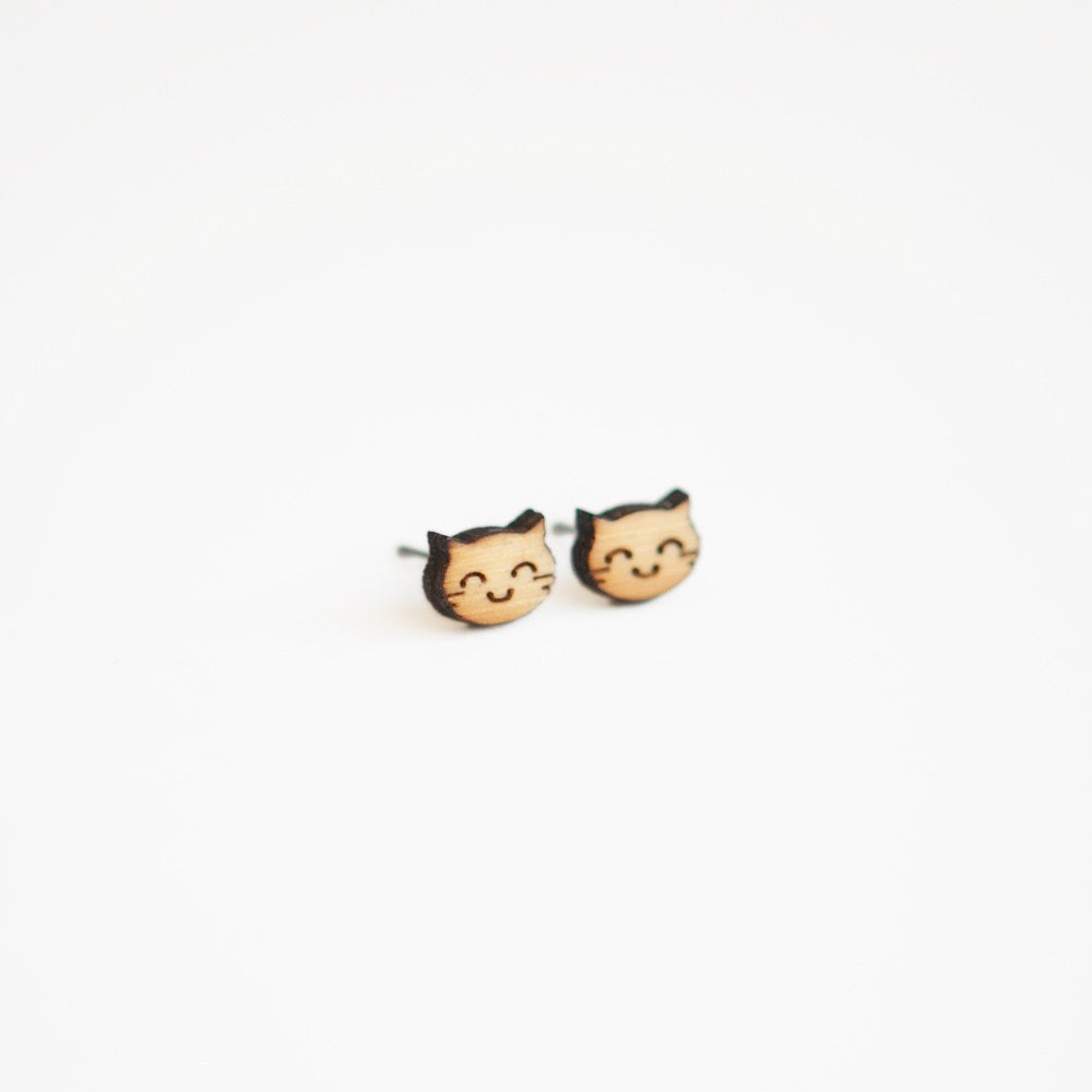 Happy Cat Wooden Earrings