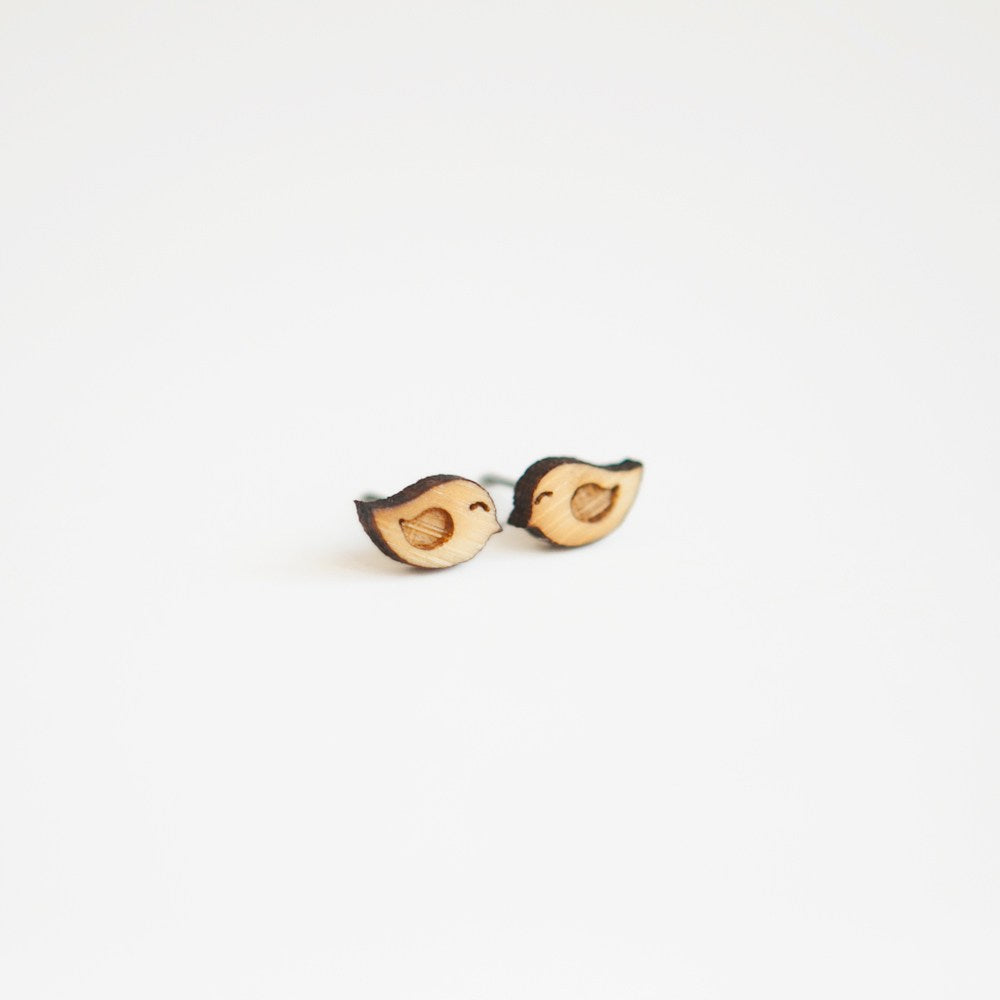 Love Birds Wooden Earring Studs