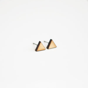Triangle Wooden Earring Studs