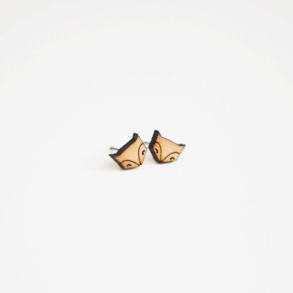 Fox Wooden Earring Studs