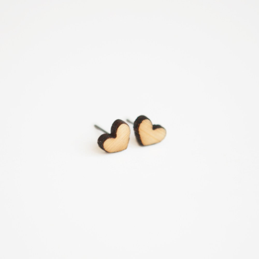 Heart Wooden Earring Studs