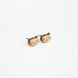 Cranky Cat Wooden Earrings