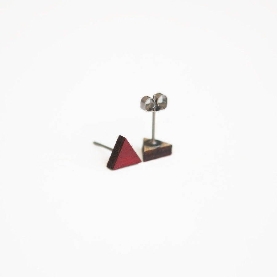 Dark Red / Burgundy Triangle Wooden Earring Studs