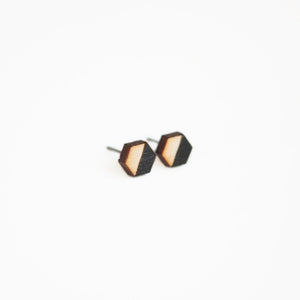 Black Hexagon Wooden Earring Studs